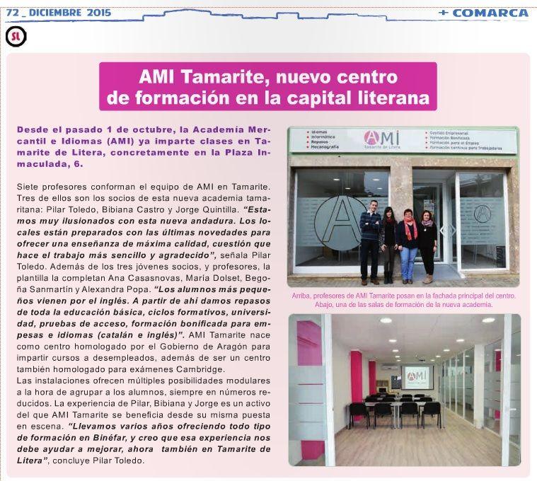 AMI Tamarite en el número de Somos Litera Diciembre